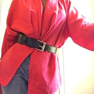 80s impressions red long sleeve buttoned blouse